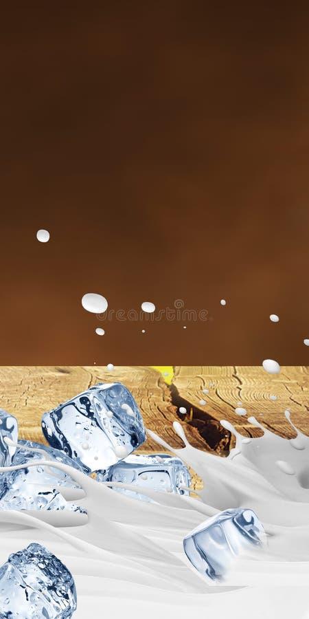 ilustracja 3 d Dojna plu?ni?cie ilustracja, Realistyczni mleko plu?ni?cia ilustracja wektor