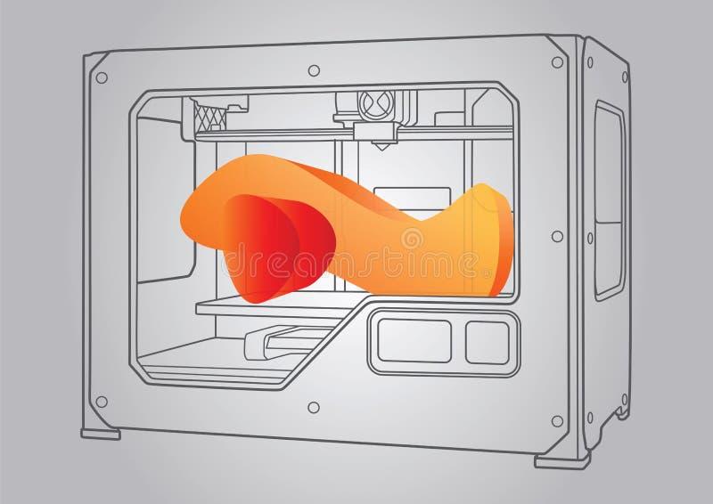 Ilustracja 3D drukarka royalty ilustracja