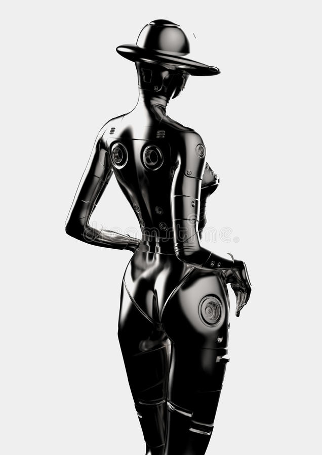 ilustracja 3 d Elegancki chromeplated cyborg kobieta royalty ilustracja