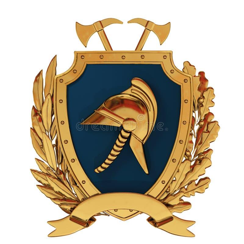 ilustracja 3 d Emblemat strażacy Złoty hełm, cioski, błękitna osłona, gałązka oliwna, dąb gałąź ilustracja wektor
