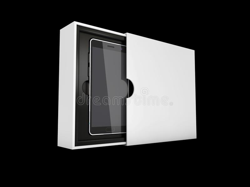ilustracja 3 d nowożytny mądrze telefon w pudełku Czarny ekran dla mockup, odosobniony czerń ilustracja wektor