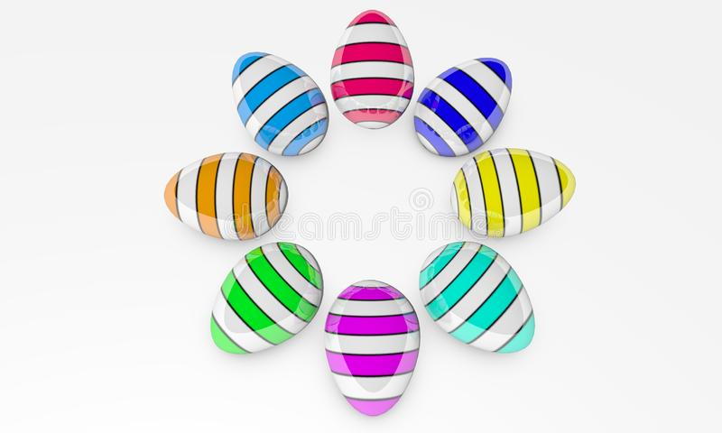 Ilustracja 3D odpłaca się tworzy jako rezultat renderingu barwioni Wielkanocni jajka z deseniowym odgórnego widoku tłem ilustracja wektor