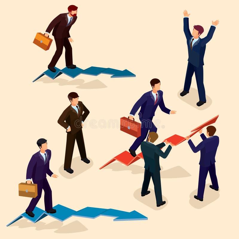 ilustracja 3D płascy isometric ludzie Pojęcie lider biznesu, ołowiany kierownik, CEO ilustracja wektor