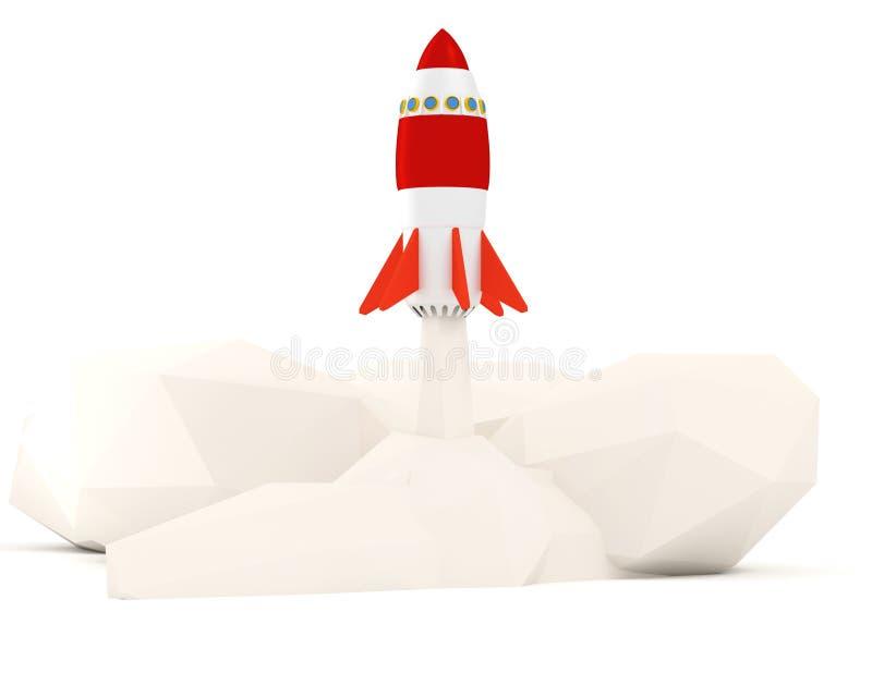 ilustracja 3 d Początkowy pojęcie z rakietowym lataniem na białym tle ilustracja wektor