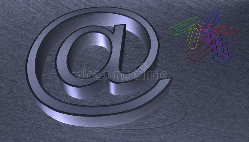 ilustracja 3 d przy emailem znak szczotkował metal z czarną krawędzią ilustracji