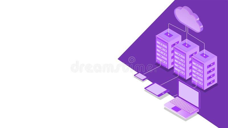 Ilustracja 3D serwera w chmurze połączonego z trzema lokalnymi serwerami i urządzeniami cyfrowymi do obsługi izometrycznej oparte ilustracji