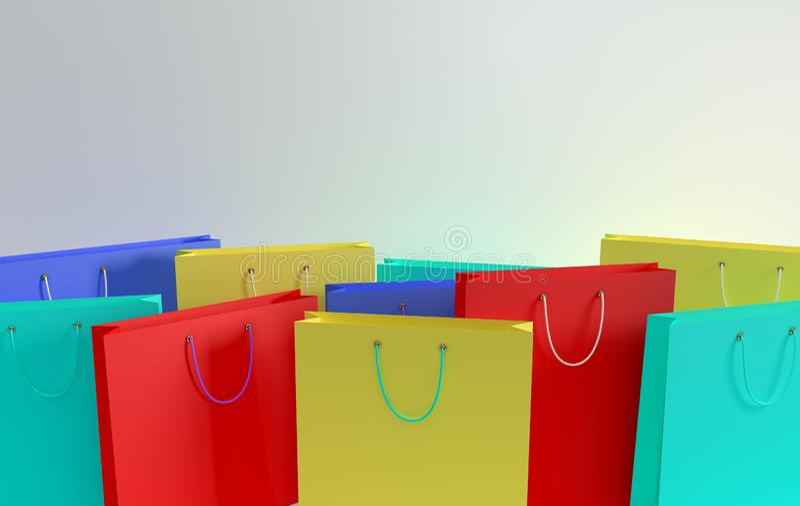 ilustracja 3 d, Set kolorowe papierowe torby na zakupy na białym tle Pojęcie handlowego biznesu sprzedaż detaliczna i ilustracji