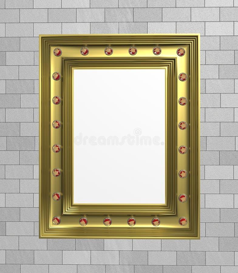 ilustracja 3 d Złocista obrazek rama z klejnotami na ściany z cegieł tle royalty ilustracja