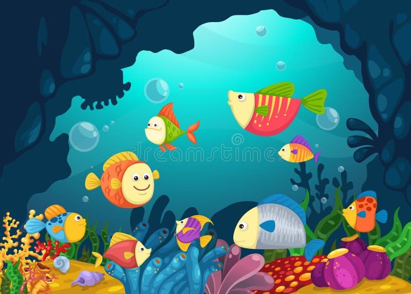 Ilustracja denny podwodny tło ilustracji