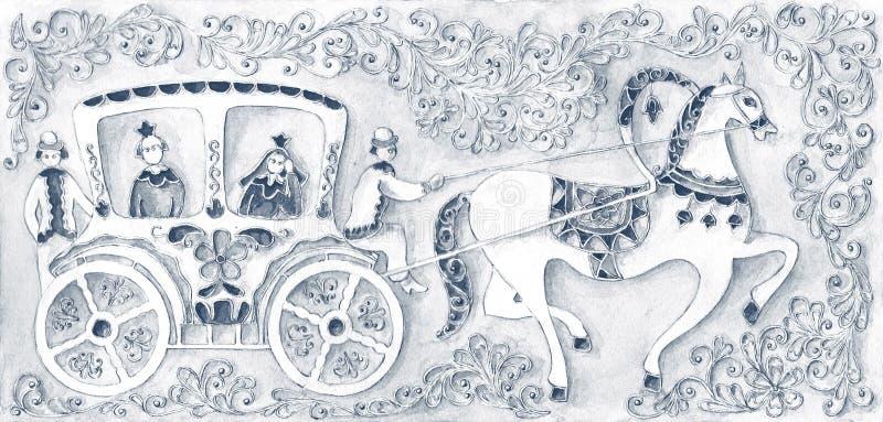 Ilustracja dla bajki, akwarela Wykonujący w rosjanina stylu royalty ilustracja
