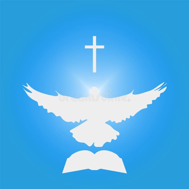 Ilustracja dla Chrześcijańskiej społeczności: Nurkujący jako Święty duch, krzyż, biblia obraz stock