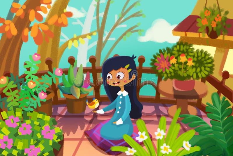 Ilustracja dla dzieci: Dziewczyna i ptak W Jej Malutkim ogródzie na jej balkonie, spotyka jej małego przyjaciela ilustracji
