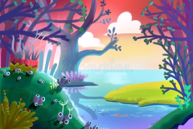 Ilustracja dla dzieci: Mały Zielonej trawy pole wśrodku Magicznego lasu brzeg rzeki royalty ilustracja