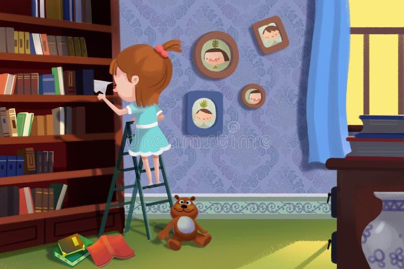 Ilustracja Dla dzieci: Patrzeje co zakłada na Książkowej półce I royalty ilustracja