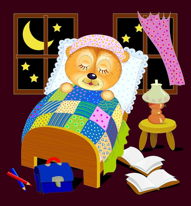 Ilustracja dla dziecko ksi??ki Mały miś śpi przy nocą w jego łóżku po czytać Wektorowa ilustracja z ptakami i kwiatami ilustracji