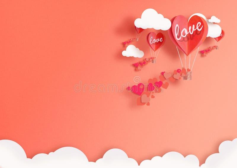 Ilustracja dla walentynki ` s dnia Żywy serce kształtujący balony Żyje Koralowej komarnicy wśród pochwały miłości i chmur Pojęcie obrazy royalty free