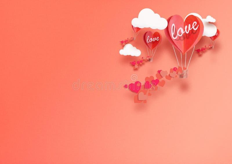 Ilustracja dla walentynki ` s dnia Żywy serce kształtujący balony Żyje Koralowej komarnicy wśród pochwały miłości i chmur Pojęcie zdjęcia stock
