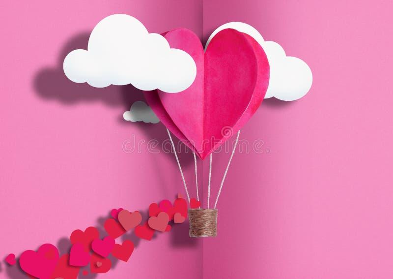 Ilustracja dla walentynki ` s dnia Żywy serce kształtujący balony Żyje Koralowej komarnicy wśród pochwały miłości i chmur Pojęcie zdjęcie royalty free