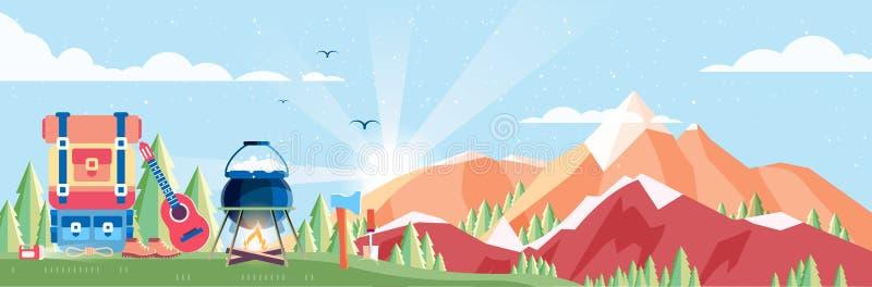 Ilustracja dnia krajobraz, góry, świt, podróż, natura, garnek, ogień, wycieczkujący, duży turystyczny plecak, obozuje w mieszkani ilustracja wektor
