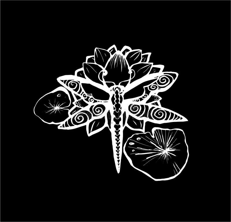 Ilustracja dragonfly na lotosie tatuażu pomysł Kreda na blackboard ilustracja wektor