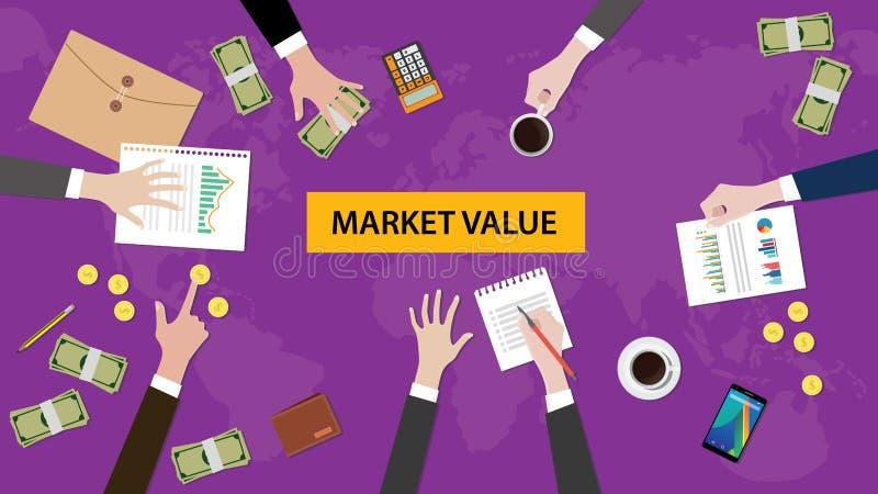 Ilustracja drużynowa dyskusja o wartości rynkowej w spotkaniu z papierkowymi robotami, pieniądze, monetami, kalkulatorem i falców royalty ilustracja