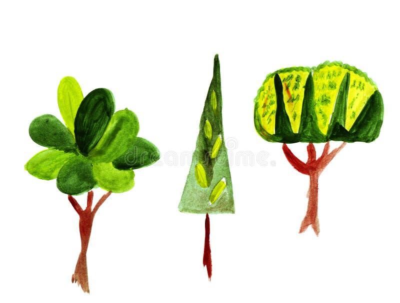 Ilustracja drzewa, krzaki i liścia trzy bajecznie niezwykłych, royalty ilustracja