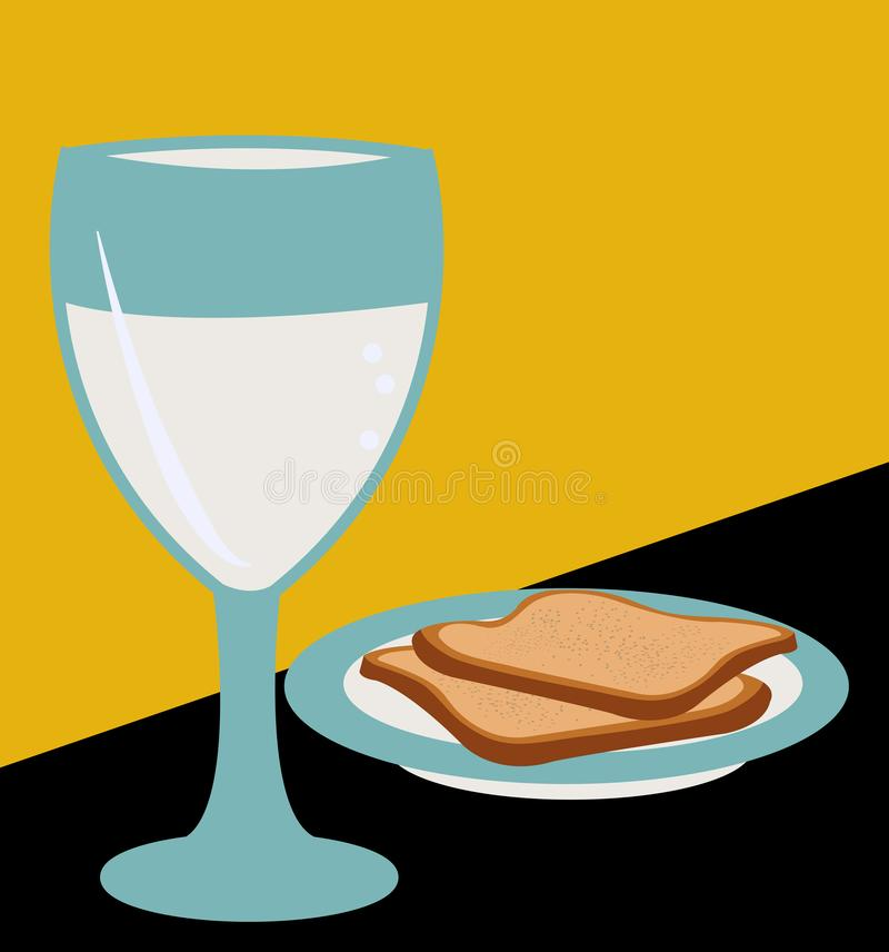 Ilustracja dwa plasterka chleb na talerzu z szkłem woda ilustracji