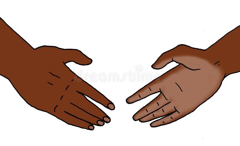 Ilustracja dwa ręki która zbliżają się each inny ilustracji