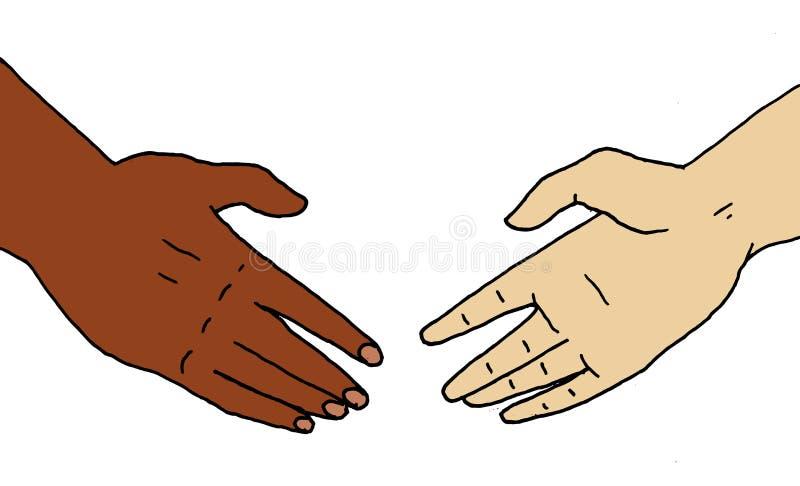 Ilustracja dwa ręki która zbliżają się each inny zwężać się ilustracji