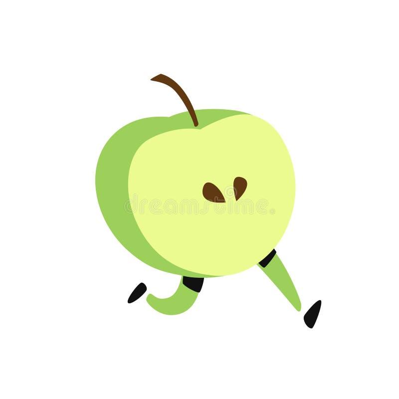 Ilustracja działający jabłko wektor Ikona smakowita zielona owoc P?aski kresk?wka styl Dor?czeniowej us?uga logo Emblemat dla eco ilustracji