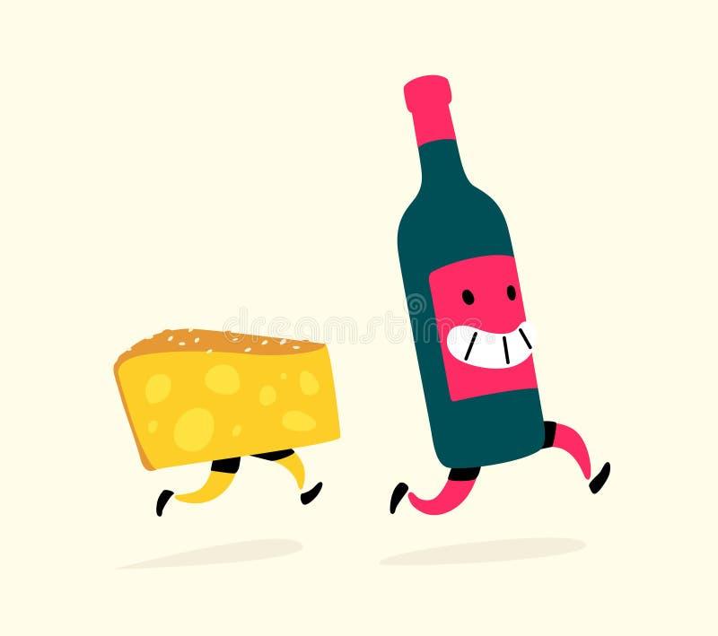 Ilustracja działający ser i butelka wino wektor Charaktery napój i przekąska Ikony dla miejsca na lekkim tle royalty ilustracja
