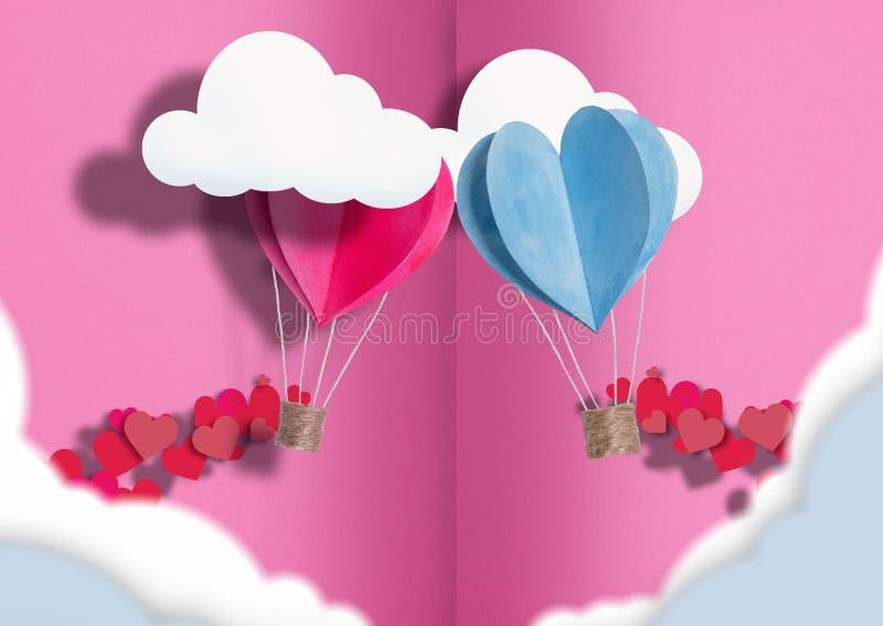 Ilustracja dzień wszystkie kochankowie balony błękit i menchie rozpraszają wokoło one mali serca zdjęcie royalty free