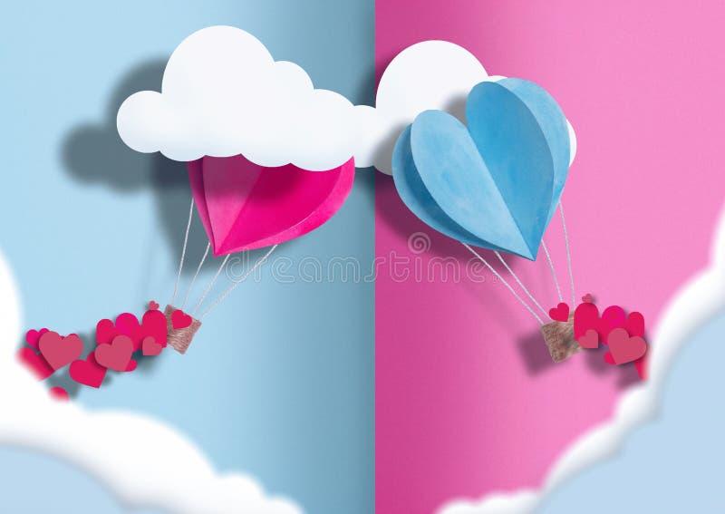 Ilustracja dzień wszystkie kochankowie balony błękit i menchie rozpraszają wokoło one mali serca obrazy stock