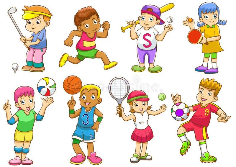 Ilustracja dzieci bawić się różnych sporty ilustracja wektor