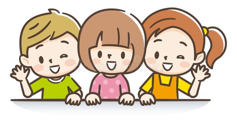 Dzieci Macha Ich Ręki ZUśmiechem Ilustracja Wektor - Ilustracja złożonej zdzieciak, grupa: 128297401