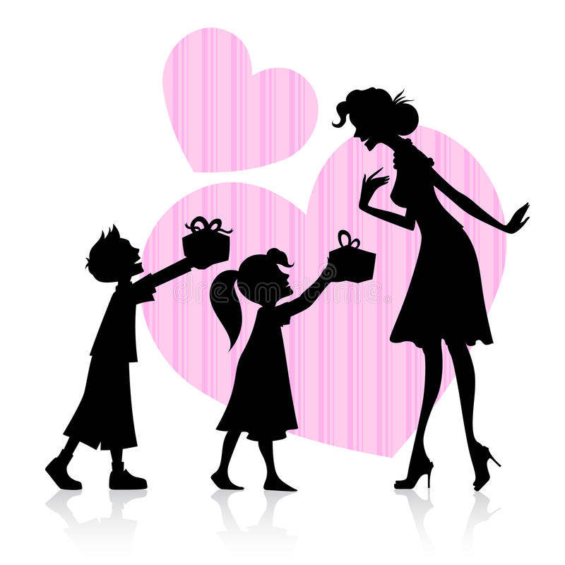 Dzieciaki daje prezentowi matka ilustracji