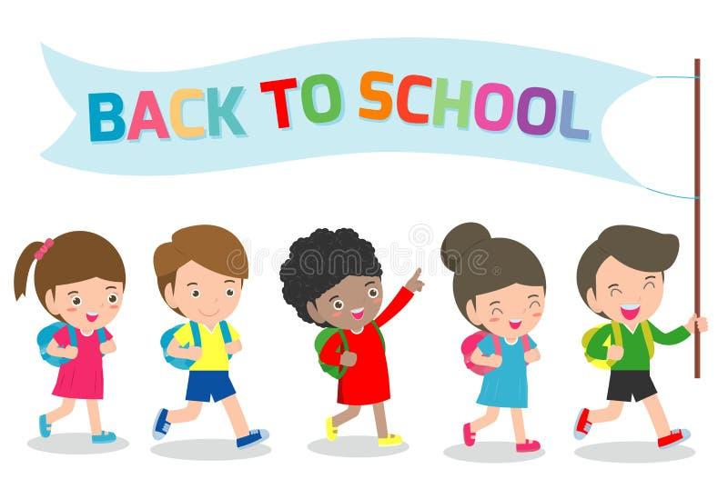 Ilustracja dzieciaki Iść szkoła szkoła szablon z dziećmi, z powrotem, grupa ucznie chodzi dziecka w wieku szkolnym Odizolowywając ilustracja wektor