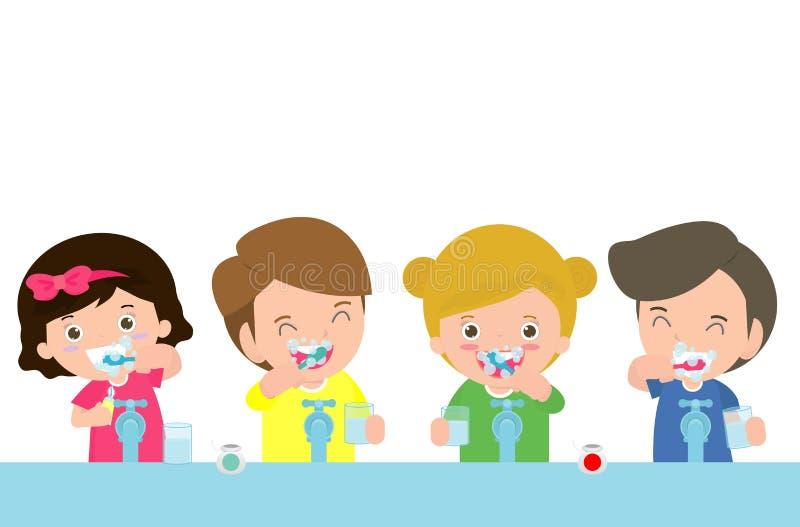 Ilustracja dzieciaki Szczotkuje ząb, małe dzieci bierze opiekę i czyści wielkiego, uśmiechniętego ząb, postać z kreskówki dzieci  royalty ilustracja
