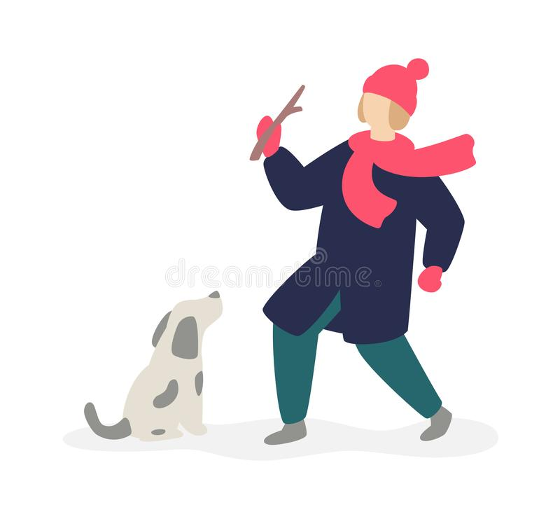 Ilustracja dziewczyna bawić się z domowym psem na ulicie wektor Mieszkanie styl Dziewczyna i jej zwierzę domowe Wizerunek odizolo ilustracji