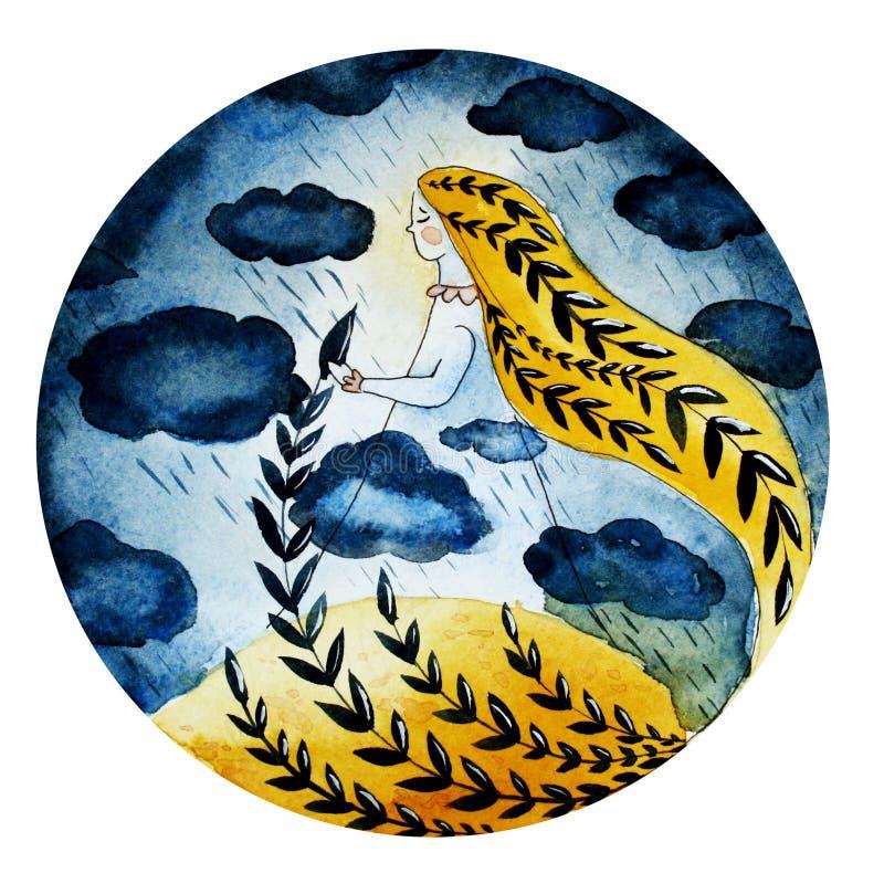 Ilustracja dziewczyna chmury i deszcz royalty ilustracja