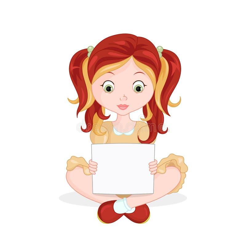 Ilustracja dziewczyna trzyma pustą deskę ilustracja wektor