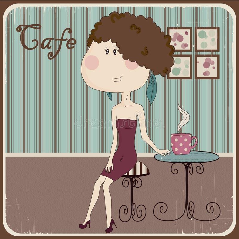 Ilustracja dziewczyna w kawiarni. Rocznika styl. royalty ilustracja