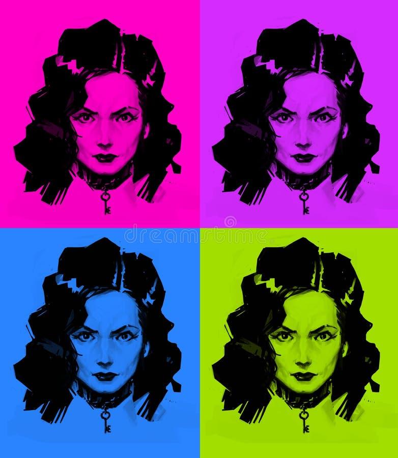 Ilustracja dziewczyna w stylu wystrzał sztuki Modny nowożytny obrazek Obraz dla graffiti i druk na ścianie ilustracja wektor