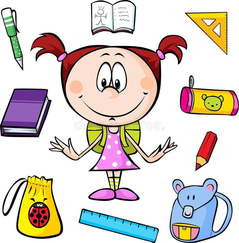 Ilustracja dziewczyna z szkolnymi dostawami royalty ilustracja