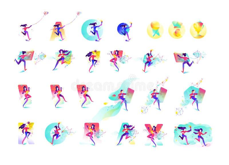 Ilustracja dziewczyny i chłopiec Biznesy i Ups młody pokolenie Wektorowa płaska gradientowa ilustracja Wizerunek dla zdjęcie royalty free