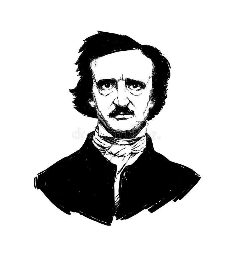Ilustracja Edgar Allan Poe Portret wielka Amerykańska poeta i pisarz Ilustracja dla tatuażu, miejsce, broszura, plakat, royalty ilustracja