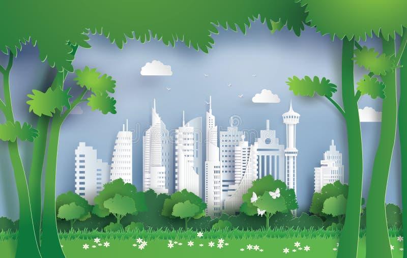 Ilustracja ekologia i środowisko z zielonym miastem royalty ilustracja