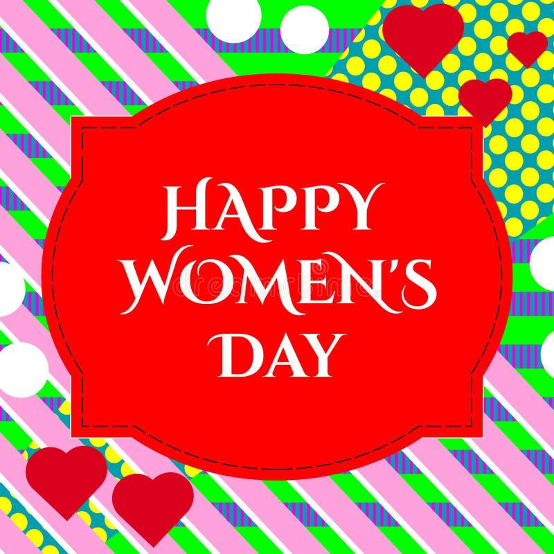 ilustracja eleganckiego 8 marszu kobiet ` s dnia szczęśliwy kartka z pozdrowieniami z literowanie typografii teksta znakiem, serc royalty ilustracja