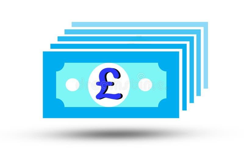 Ilustracja England Pound sterling white background Funt szterling jest główną i popularną walutą wymiany na świecie ilustracji