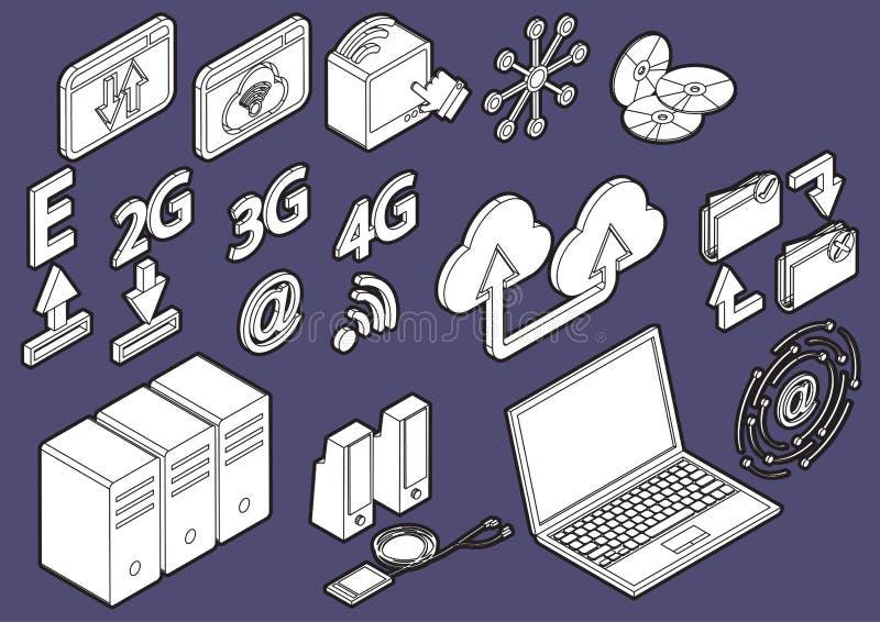 Ilustracja ewidencyjne graficzne komputerowe ikony ustawia pojęcie royalty ilustracja